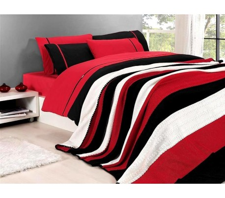 "Cotton Bedding & Blanket ""Red"""