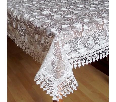 """Квадратная скатерть """"Белые цветы""""  150 х 150 см"""