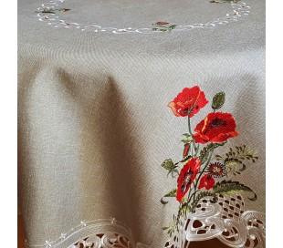 Круглая скатерть с красными маками 120см