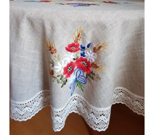"""Round tablecloth embroidered with ribbons """"Poppies"""" 150cm"""