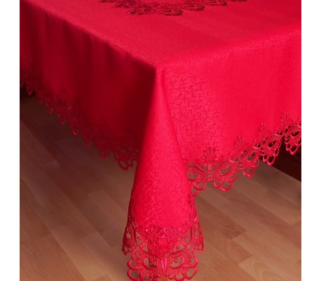 Square tablecloth with lace 200 x 200 cm
