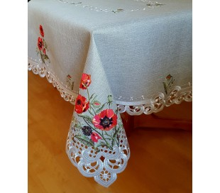 Rectangular tablecloth with red poppies 150 х 220 cm